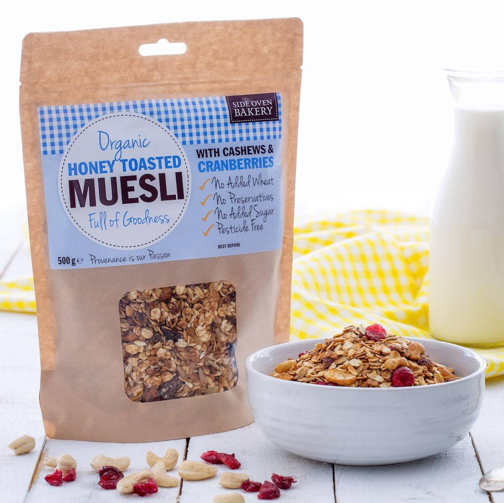 Side Oven Bakery organic muesli with cranberries and cashews
