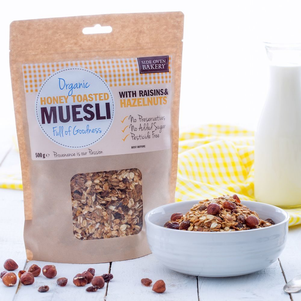 Side Oven Bakery organic muesli with raisins and hazelnuts