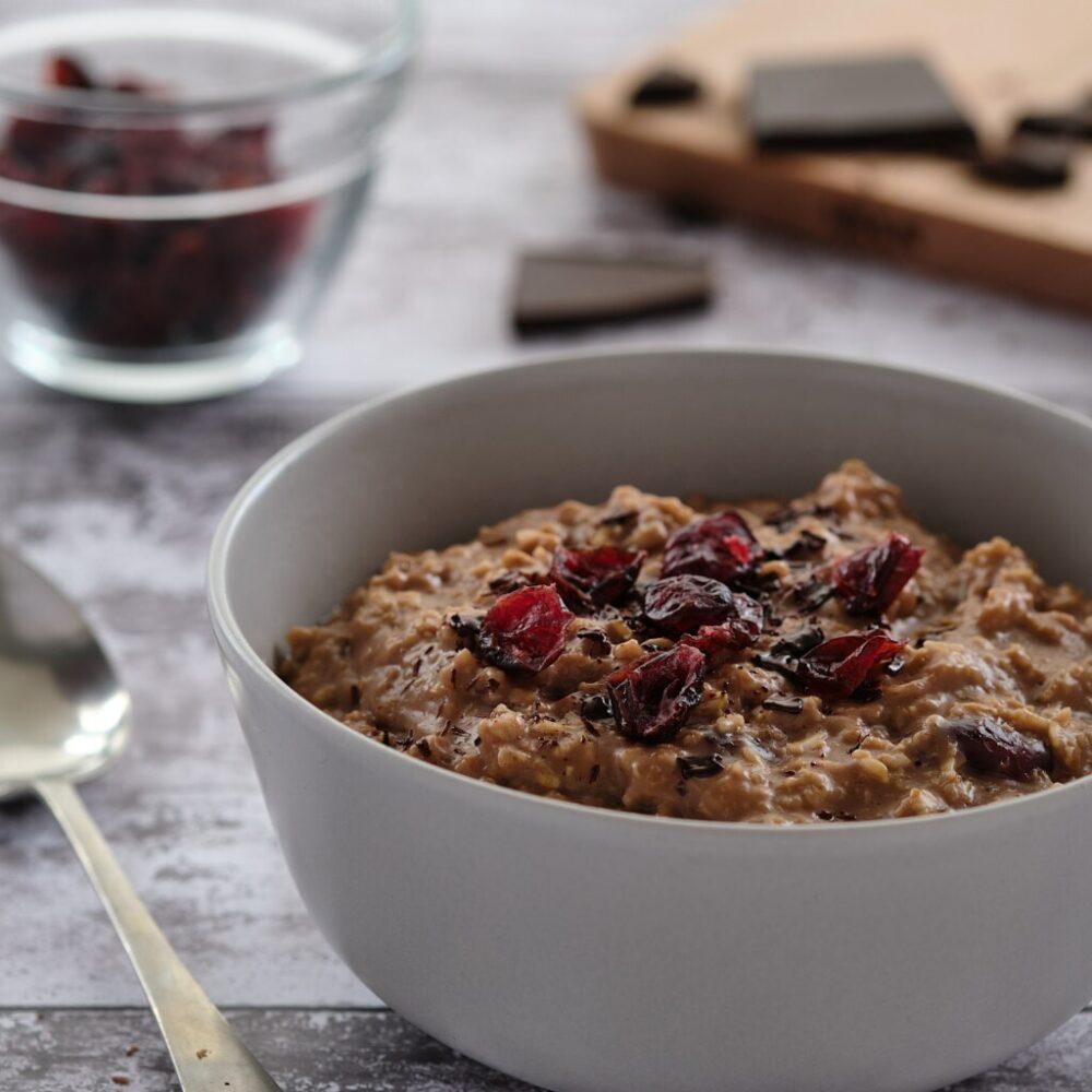 chocolate and cranberry porridge